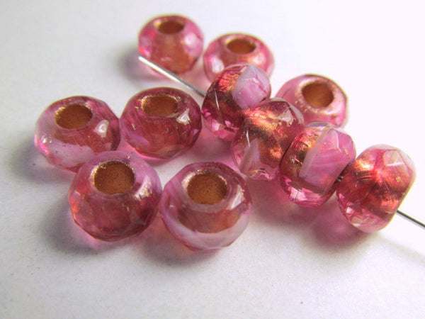 Fuchsia Pink Coral Czech Large Hole 9mm Roller Beads - Odyssey Cache