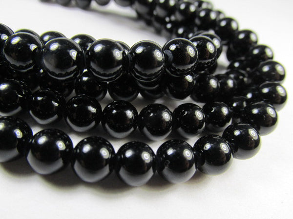 Blackstone 6mm Round Semiprecious Stone Beads (33)-Jewelry Beads-Default Title-Odyssey Cache