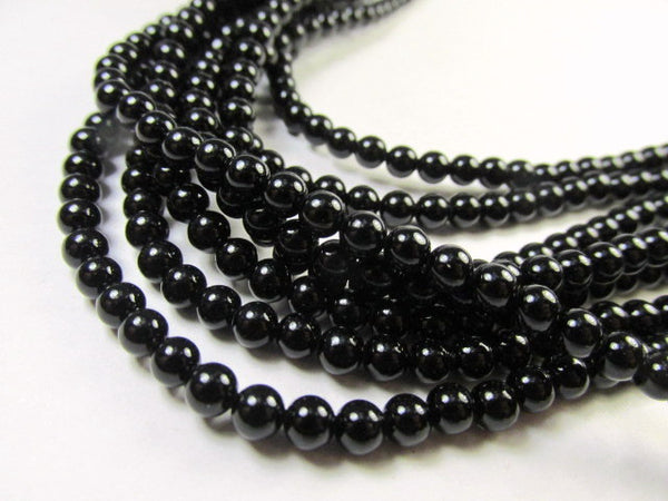 Blackstone 4mm Round Semiprecious Stone Beads (50)-Jewelry Beads-Default Title-Odyssey Cache