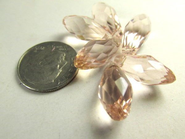Vintage Pink 16mm x 8mm Faceted Crystal Briolettes (6) - Odyssey Cache