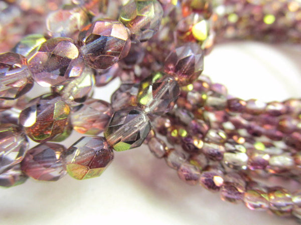 Purple Amethyst Luster 6mm Fire Polished Beads Czech Glass (25) - Odyssey Cache - 5