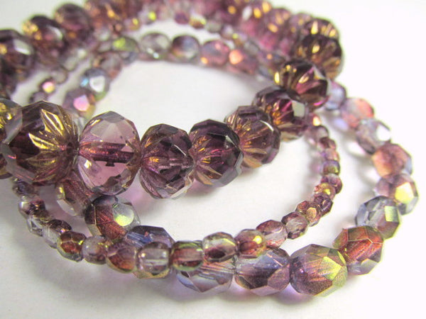 Purple Amethyst Luster 6mm Fire Polished Beads Czech Glass (25) - Odyssey Cache - 6