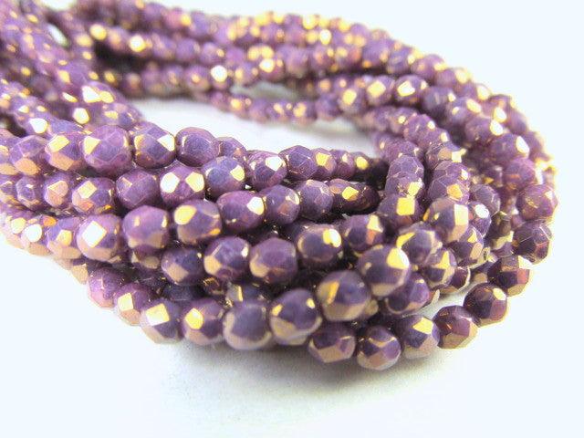 Light Purple Opaque Plum Czech 3mm Fire Polished Faceted Beads (50)-Jewelry Beads-Odyssey Cache