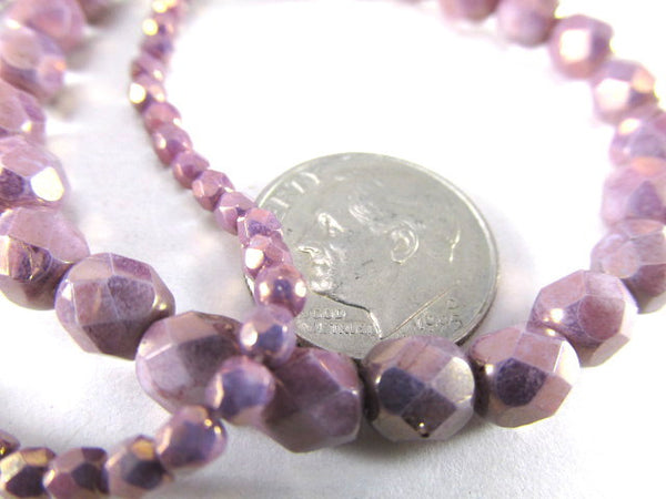 Light Purple Opaque Plum Czech 3mm Fire Polished Faceted Beads (50) - Odyssey Cache