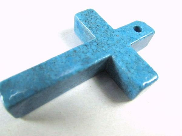 Simulated Turquoise Stone 38mm Cross Pendant - Odyssey Cache
