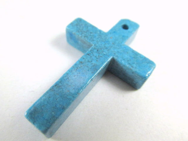 Simulated Turquoise Stone 38mm Cross Pendant-Jewelry Beads-No bail-Odyssey Cache