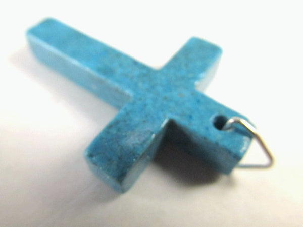 Simulated Turquoise Stone 38mm Cross Pendant-Jewelry Beads-With bail-Odyssey Cache