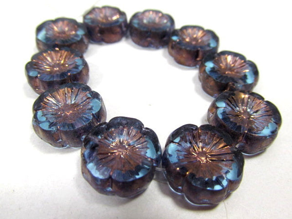 Light Blue Aqua Bronze 14mm Hawaiian Czech Flower Beads (5) - Odyssey Cache