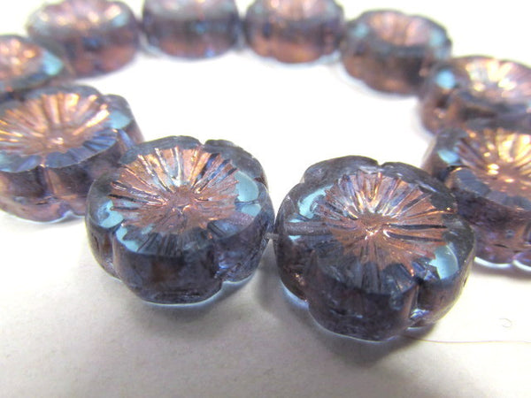 Light Blue Aqua Bronze 14mm Hawaiian Czech Flower Beads-Jewelry Beads-5 beads-Odyssey Cache