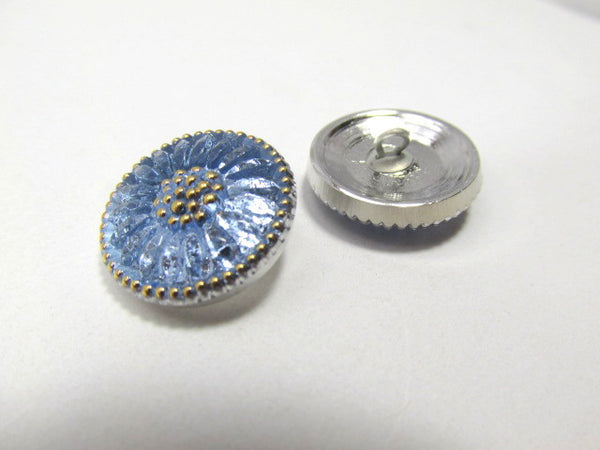 Light Sapphire Blue Daisy Czech Glass 18mm Button-Jewelry Beads-Odyssey Cache