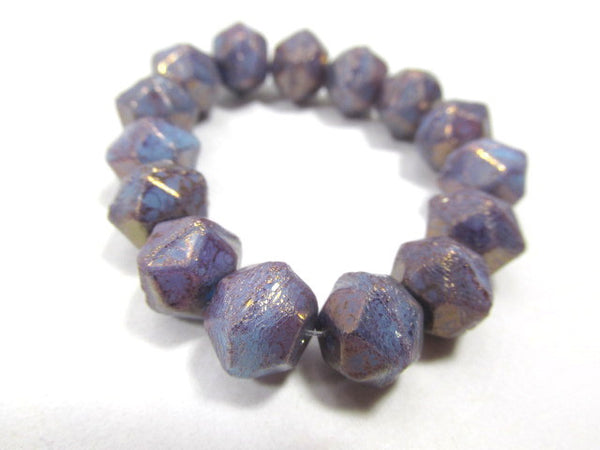Amethyst Purple Blue 10mm Czech English Cut Faceted Beads-Jewelry Beads-15 beads full strand-Odyssey Cache