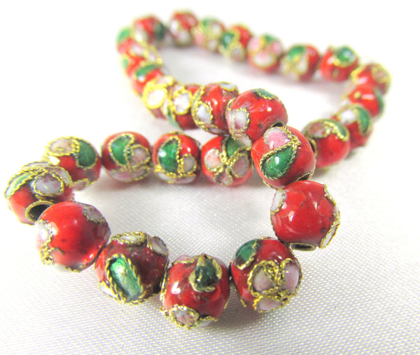 Red 6mm Round Cloisonne Flower Jewelry Beads-Jewelry Beads-30 beads-Odyssey Cache