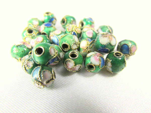 Peacock Green 6mm Cloisonne Flower Beads-Jewelry Beads-15 beads-Odyssey Cache