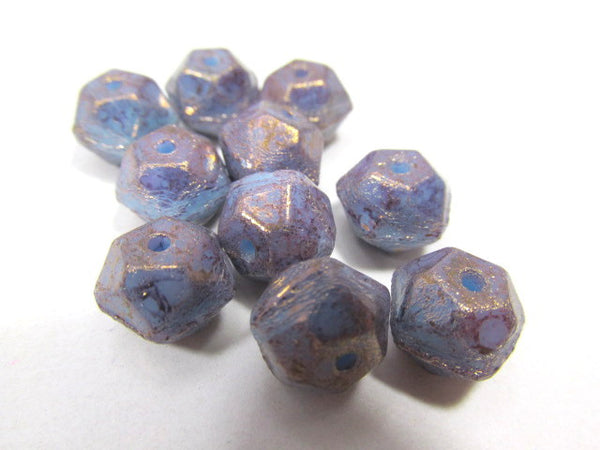 Amethyst Purple Blue 10mm Czech English Cut Faceted Beads-Jewelry Beads-10 beads-Odyssey Cache