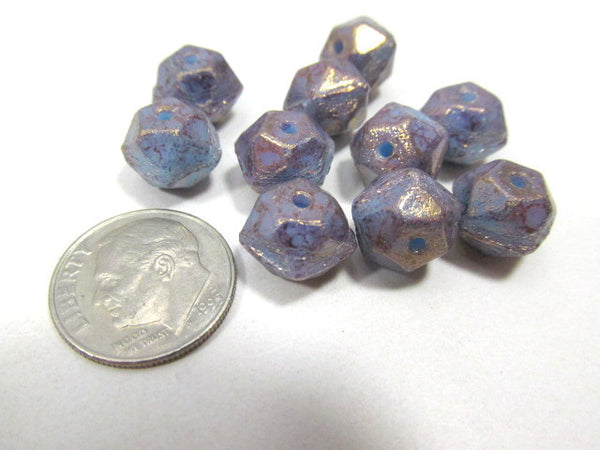 Amethyst Purple Blue 10mm Czech English Cut Faceted Beads-Jewelry Beads-Odyssey Cache