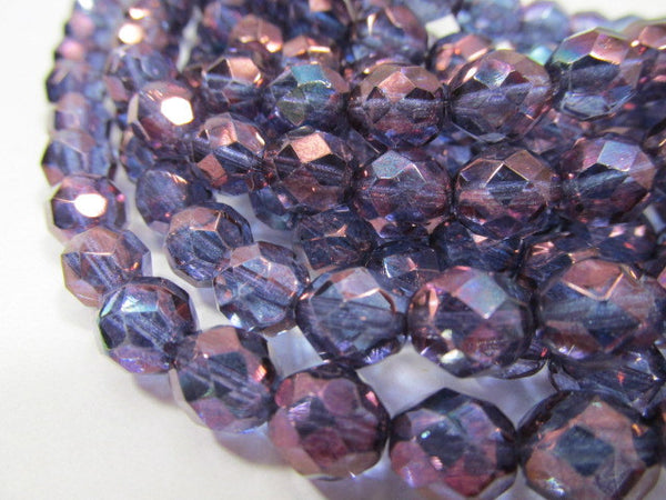 Amethyst Purple Blue Transparent Czech 8mm Fire Polished Faceted Beads (25)-Jewelry Beads-Odyssey Cache