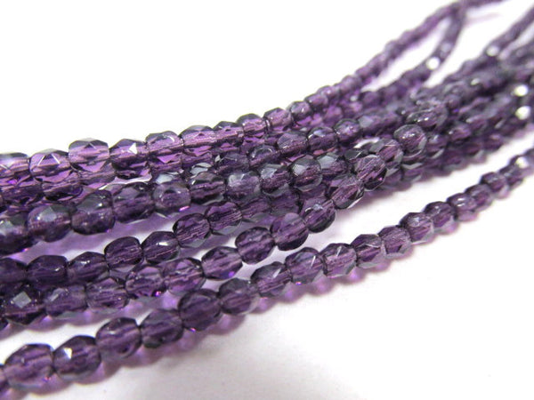 Tanzanite Purple  Czech 3mm English Cut Faceted Beads (50) - Odyssey Cache