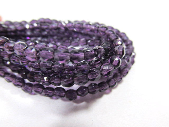 Tanzanite Purple Czech 3mm English Cut Faceted Beads (50)-Jewelry Beads-Odyssey Cache