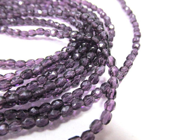 Tanzanite Purple Blue Czech 3mm Fire Polished Faceted Beads (50) - Odyssey Cache