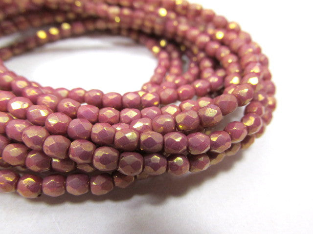 Mauve 22k Gold Picasso 3mm Fire Polished Beads (50)-Jewelry Beads-Odyssey Cache