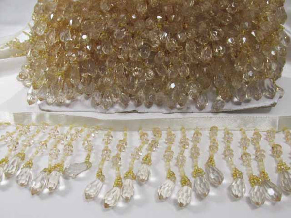 Ivory Beige Graduated 2.75 Medium Beaded Fringe Trim - Odyssey Cache