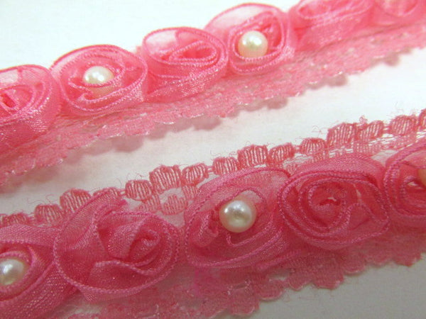 Bright Pink Organza Rosettes with Pearl Centers Lace Trim - Odyssey Cache
