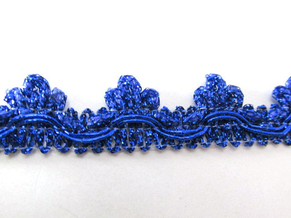 Metallic Cobalt Blue or Red 20mm Edging or Border Scalloped Fringed Trim-Trims-Cobalt Blue-Odyssey Cache