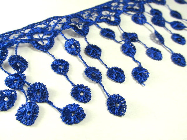 Cobalt Blue 3.5 inch Fringed Venise Lace Trim-Trims-Odyssey Cache