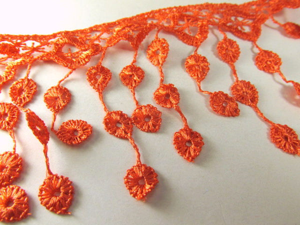 Coral Orange 3.5 inch Fringed Venise Lace Trim - Odyssey Cache