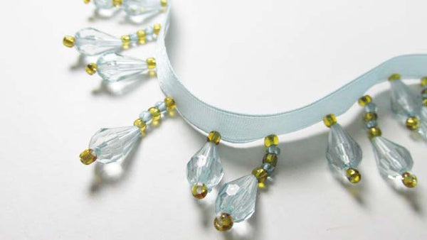 Light Aqua Seafoam Green and Gold Short Beaded Fringe Trim-Beaded Fringe-Odyssey Cache