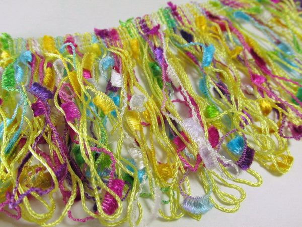 Multicolor Yellow, Fuchsia, Turquoise, and Green 3.5 inch Confetti Fringed Trim - Odyssey Cache