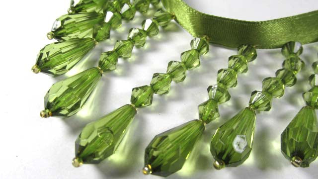 Peridot Olive Green 2.25 inch Medium Beaded Fringe Trim - Odyssey Cache