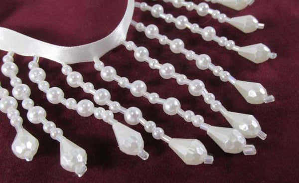 White Pearl Teardrop and Crystal AB 3 Inch Straight Medium Beaded Fringe Trim-Beaded Fringe-Odyssey Cache