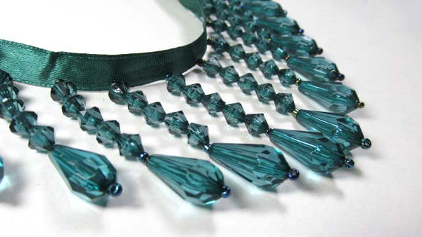 Peacock Blue Green Teal 2.25 Inch Medium Beaded Fringe Trim-Beaded Fringe-Odyssey Cache