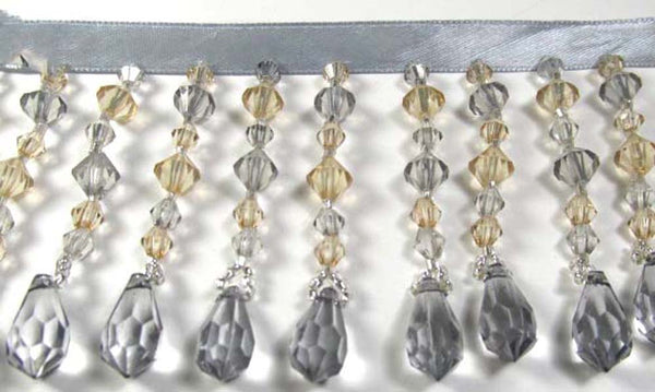 Gray and Taupe Faceted 3 Inch Medium Beaded Fringe Trim - Odyssey Cache