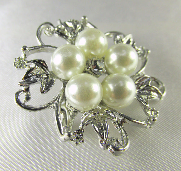 Silver, White Pearl and Clear Crystal 2 Inch Flower Brooch-Brooch-Odyssey Cache