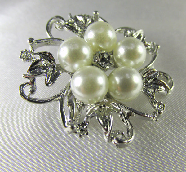 Silver, White Pearl and Clear Crystal 2 Inch Flower Brooch-Brooch-Default Title-Odyssey Cache