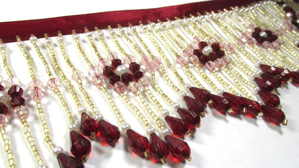 Burgundy Blush 4 Inch Long Beaded Fringe with Pearl Accents-Beaded Fringe-Odyssey Cache