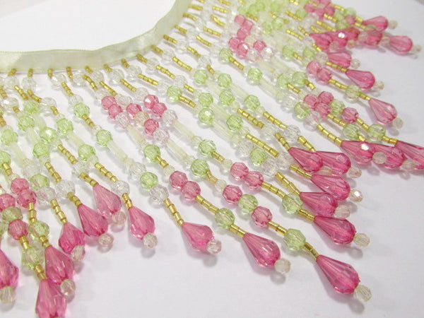 Pink Rose, Mint Green, and Clear 5.5 Inch Long Beaded Fringe - Odyssey Cache