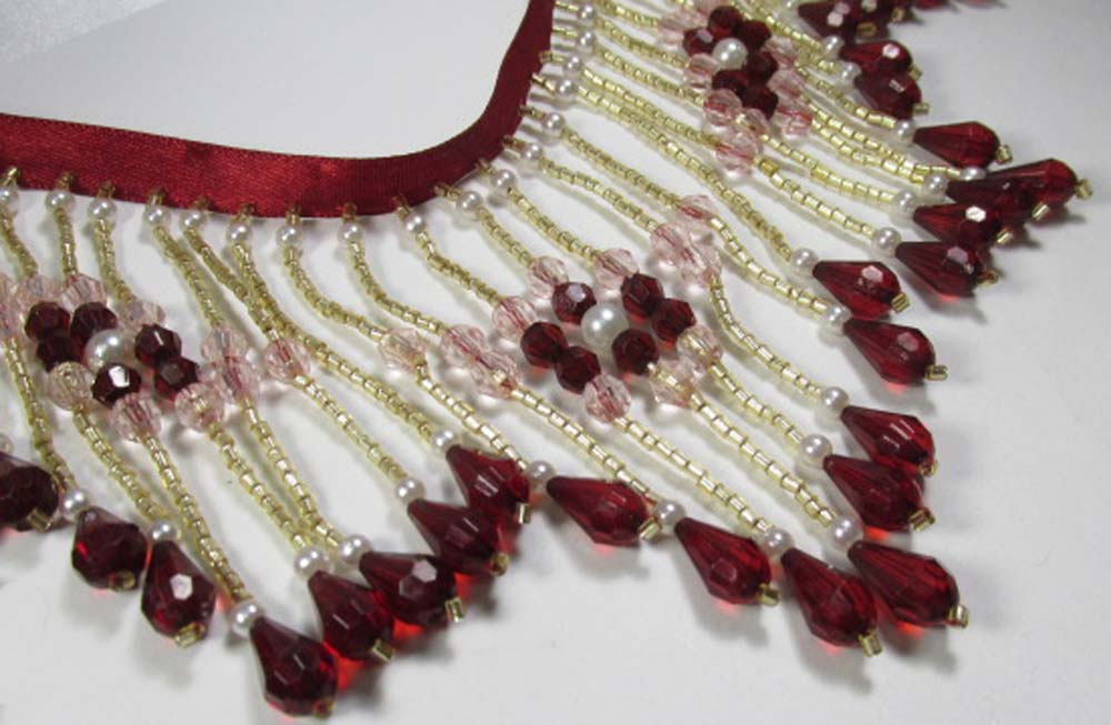 Burgundy Blush 4 Inch Long Beaded Fringe with Pearl Accents-Beaded Fringe-Yard-Odyssey Cache