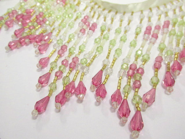 Pink Rose, Mint Green, and Clear 5.5 Inch Long Beaded Fringe-Beaded Fringe-1/2 Yard-Odyssey Cache