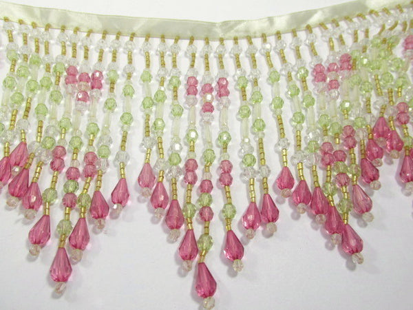 Pink Rose, Mint Green, and Clear 5.5 Inch Long Beaded Fringe-Beaded Fringe-Yard-Odyssey Cache