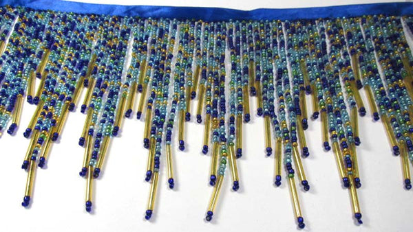 Peacock Blue, Turquoise, Green and Gold All Glass 5.5 Inch Long Beaded Fringe Trim - Odyssey Cache