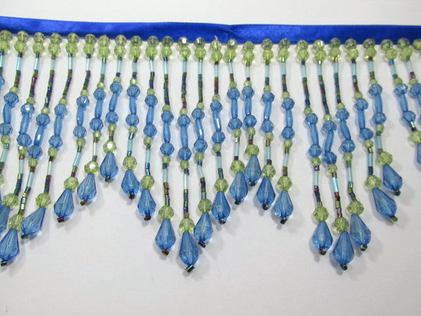 Peacock Blue and Green 4.5 inch Long Beaded Fringe - Odyssey Cache