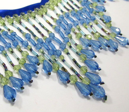Peacock Blue and Green 4.5 inch Long Beaded Fringe-Beaded Fringe-Yard-Odyssey Cache