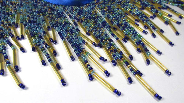 Peacock Blue, Turquoise, Green and Gold All Glass 5.5 Inch Long Beaded Fringe Trim-Beaded Fringe-Odyssey Cache