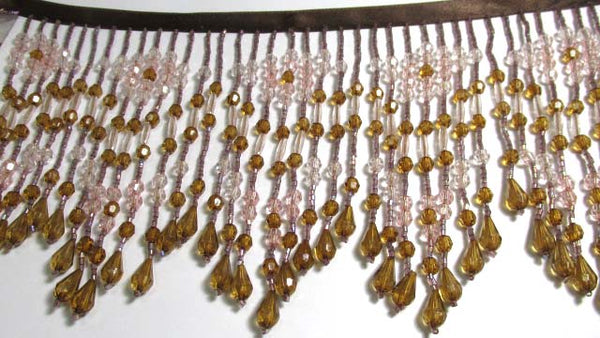 Earthen Innocence Pink and Dark Brown 5.5 Inch Long Beaded Fringe-Beaded Fringe-1/2 Yard-Odyssey Cache