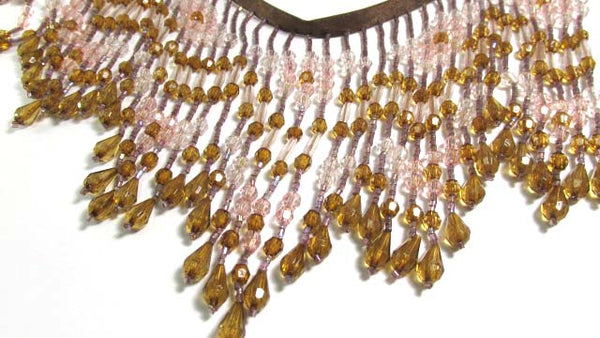 Earthen Innocence Pink and Light Brown 5.5 Inch Long Beaded Fringe-Beaded Fringe-Odyssey Cache