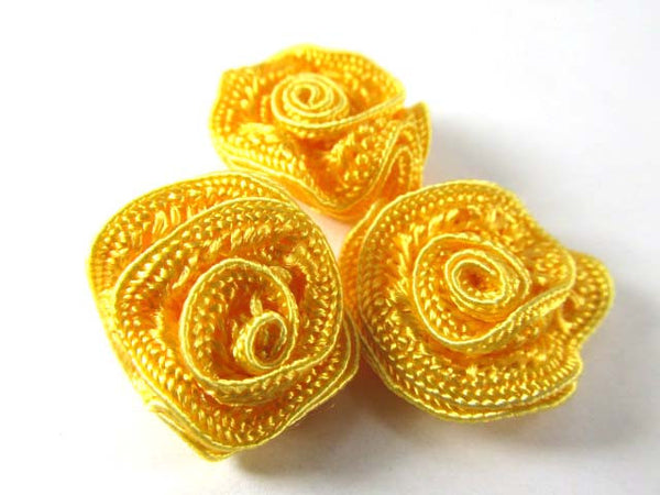 Small 3/4 Inch Woven Ribbon Rose Craft Flowers or Appliques in 9 colors-Appliques-Sunflower Yellow-Odyssey Cache