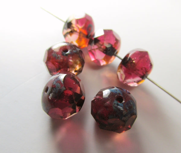 Marsala Rose Pink Fuchsia Peach 10mm x 8mm Czech Faceted Rondelles (8)-Jewelry Beads-Odyssey Cache